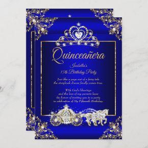 Princess Quinceanera Elite Royal Blue Gold Invitation