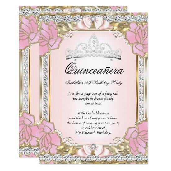 Princess Quinceanera Pink Gold 15th Birthday Card Candied Clouds
