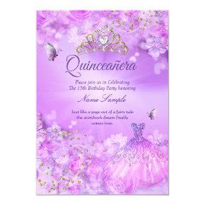 Princess Quinceanera purple pink floral dress Invitation