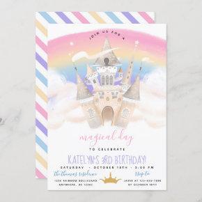 Princess Rainbow Birthday Invitation