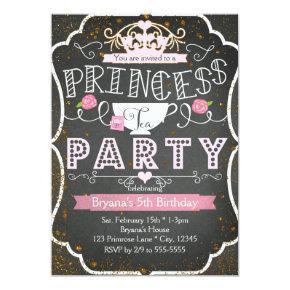 PRINCESS TEA PARTY Birthday Glitter Invitations