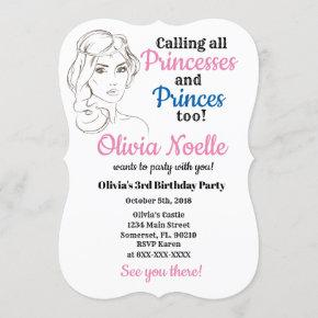 Princess Theme Customized Birthday Girl Invitation