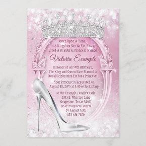 Princess Tiara Glass Slipper Cinderella Birthday Invitation