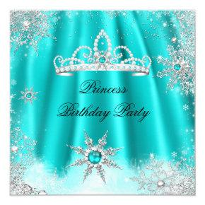 Princess Tiara Teal Blue Snowflake Birthday Party Invitations