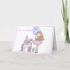 Princess Unicorn Modern Girly Watercolor Birthday Invitation
