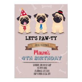 Pug Dog Parties Birthday Invitations Candied Clouds