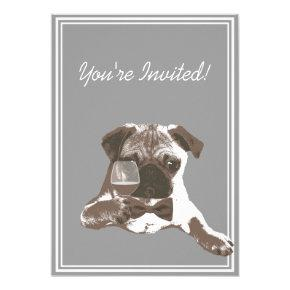 Pug & Fine Wine 30th Birthday Party Invitation
