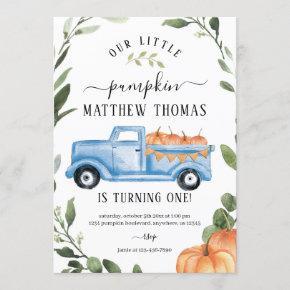 Pumpkin 1st Birthday Invitation