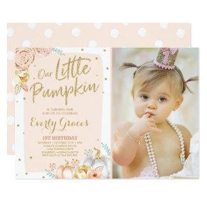 Pumpkin 1st Birthday Invitation Blush Pink Gold
