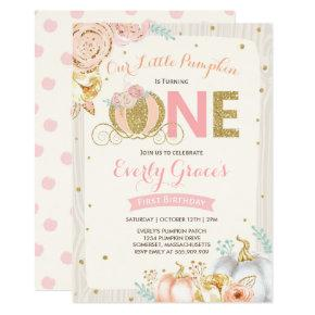 Pumpkin 1st Birthday Invitation Rustic Pink Gold