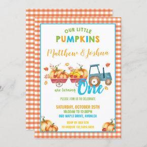 Pumpkin 1st Birthday Party Harvest Truck Twin Boys Invitation