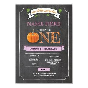 Pumpkin 1st First One Birthday Party Chalk Invite