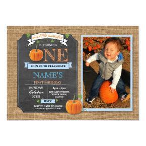 Pumpkin 1st First One Birthday Party Photo Invite