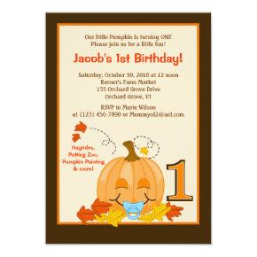 Pumpkin Baby's 1st Birthday Halloween Invite
