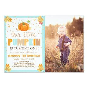 Pumpkin Birthday invitation Boy Birthday Fall blue