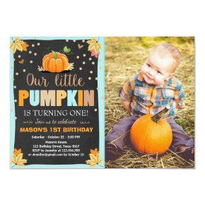 Pumpkin Birthday invitation Boy Birthday Fall blue