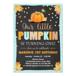 Pumpkin Birthday Invitations Boy Birthday Fall blue
