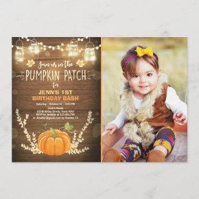 Pumpkin Birthday invitation patch Autumn fall