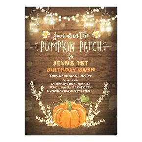 Pumpkin Birthday Invitations patch Autumn fall