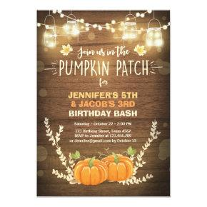 Pumpkin Birthday Invitations patch Twins Fall