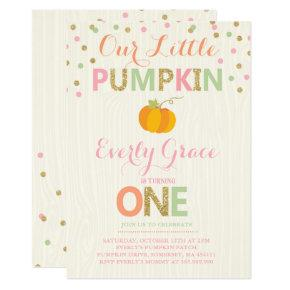 Pumpkin Birthday Invitations Pink Gold Pumpkin