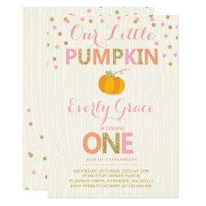 Pumpkin Birthday Invitations Pink Gold Pumpkin