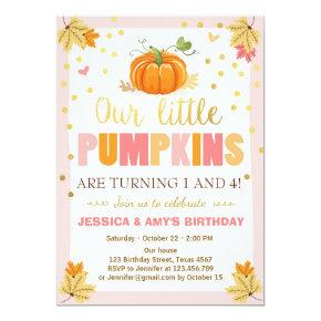 Pumpkin Birthday Invitations Pink Twin Joint Dual