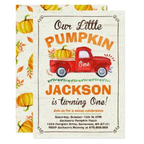 Pumpkin Birthday Invitations Pumpkin Truck Party