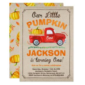 Pumpkin Birthday Invitation Pumpkin Truck Party