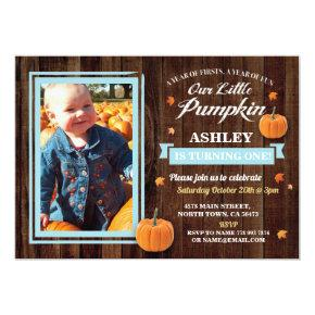 Pumpkin Birthday ONE Photo Blue Fall 1st Invite