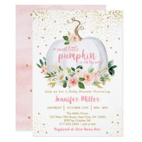 Pumpkin Blush Floral Baby Shower Invitation