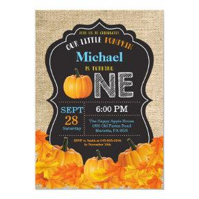Pumpkin Boy First Birthday Invitations Blue Burlap