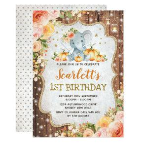 Pumpkin Elephant Birthday Party Fall Autumn Floral Invitation