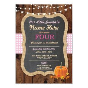 Pumpkin Fall Birthday Party ANY Age Girl's Invite
