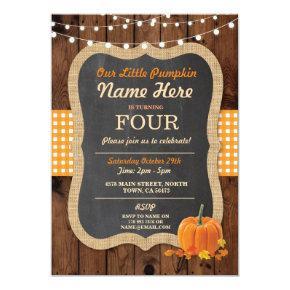 Pumpkin Fall Birthday Party ANY Age Wood Invite
