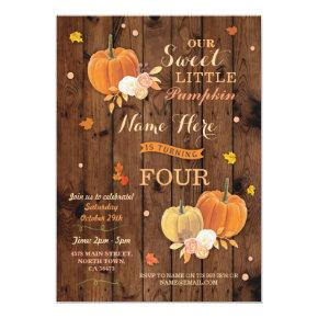 Pumpkin Fall Birthday Party Rustic Wood Invitations