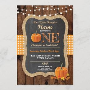 Pumpkin Fall First Birthday Party ONE Wood Invite