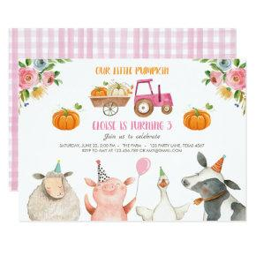 Pumpkin Farm Barnyard Fall Girl Party Birthday Invitation
