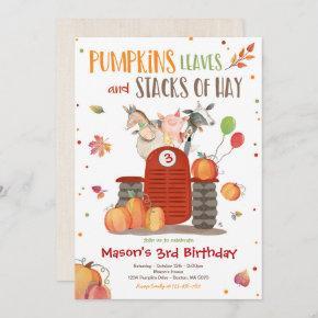 Pumpkin Farm Party Pumpkin Tractor Birthday Party Invitation