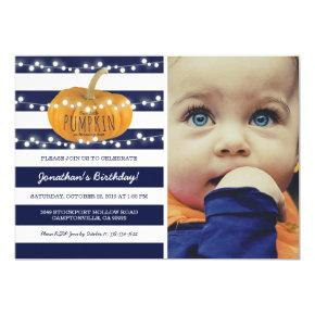 Pumpkin First Birthday | Autumn Fall Boy Blue Invitations
