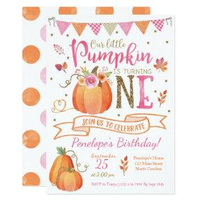 Pumpkin First Birthday Invitation, Autumn Fall Card