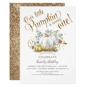 Pumpkin First Birthday Invitation Autumn Fall Gold