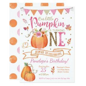 Pumpkin First Birthday Invitations, Autumn Fall Invitations
