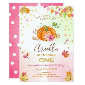 Pumpkin First birthday Invitations Autumn Fall Pink