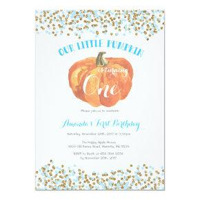 Pumpkin First Birthday Invitations Blue and Gold