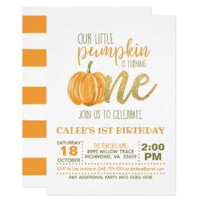 Pumpkin First Birthday Invitation - Boy