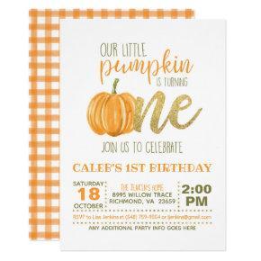 Pumpkin First Birthday Invitation - Boy #3