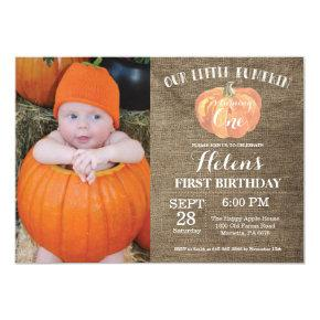 Pumpkin First Birthday Invitation Burlap
