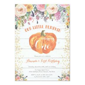 Pumpkin First Birthday Invitations Floral Gold