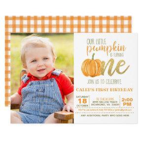 Pumpkin First Birthday Invitation for Boy w/Photo